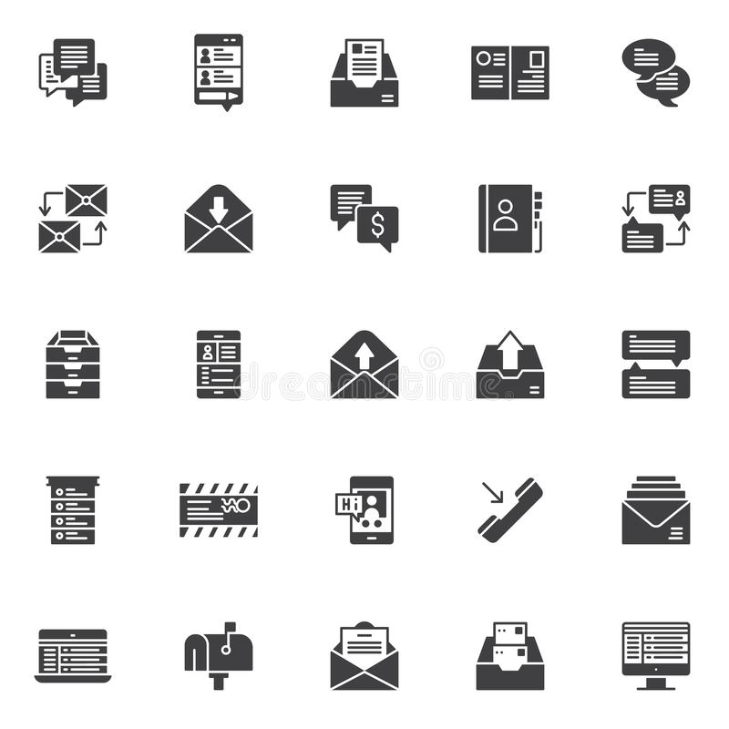 Dialogue messages vector icons set. Modern solid symbol collection, filled style pictogram pack. Signs, logo illustration. Set includes icons as speech bubble stock illustration