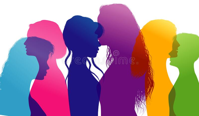 Dialogue between women. Women talking. Conversation between women. Colored silhouette profiles. Multiple exposure royalty free illustration