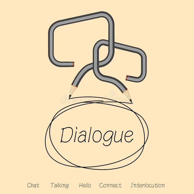 Dialoog, bespreking of praatje door dialoogdoos royalty-vrije illustratie