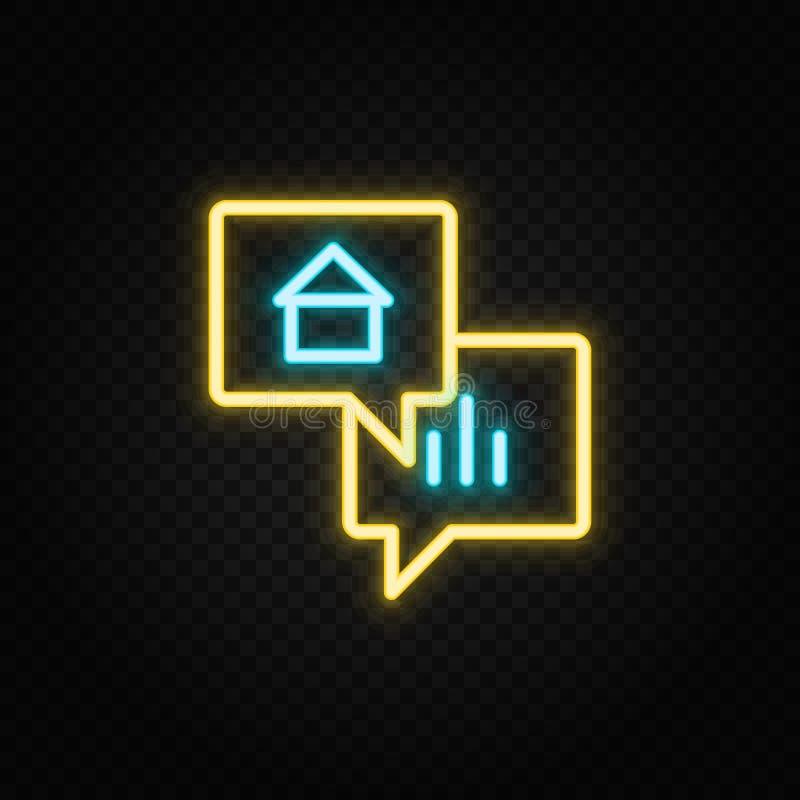 dialoog, financiën, praatje, praatje van het praatje neon pictogram Blauw en geel neonvectorpictogram stock illustratie