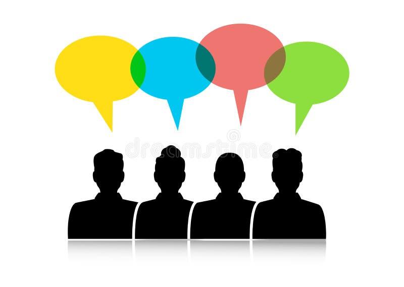 Dialoog tussen verschillende mensen stock illustratie