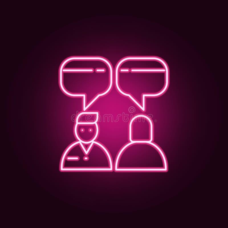 dialoog van mensenpictogram Elementen van gesprek in de pictogrammen van de neonstijl Eenvoudig pictogram voor websites, Webontwe royalty-vrije illustratie