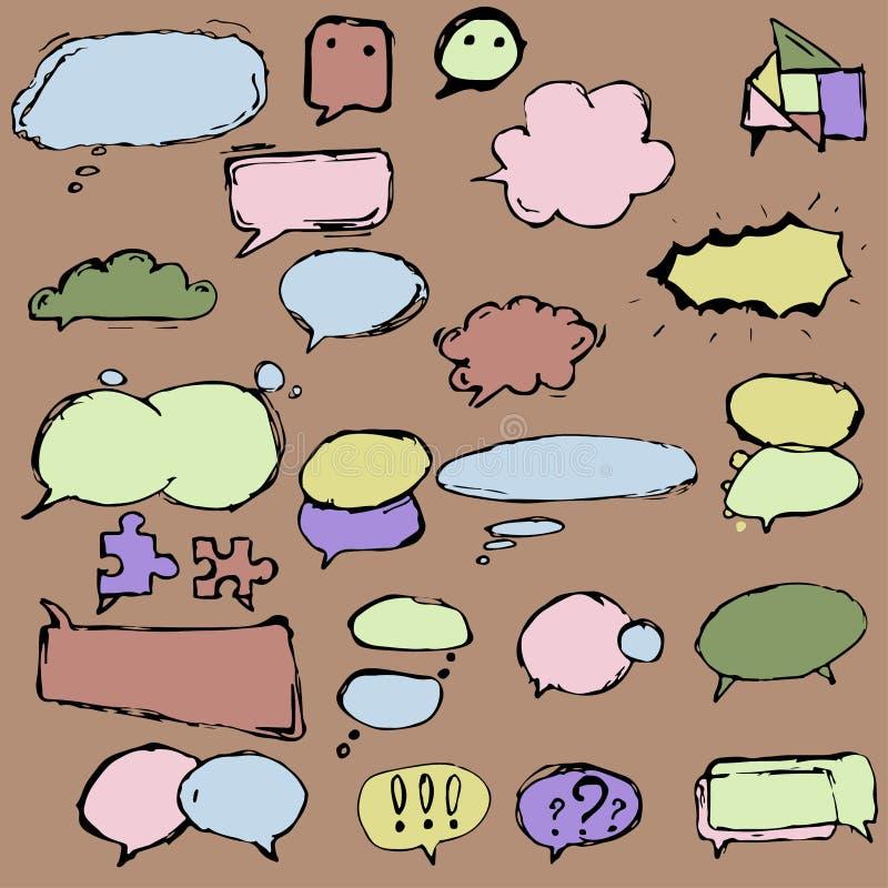 Dialoogdozen en ballons in verschillende vormen royalty-vrije illustratie