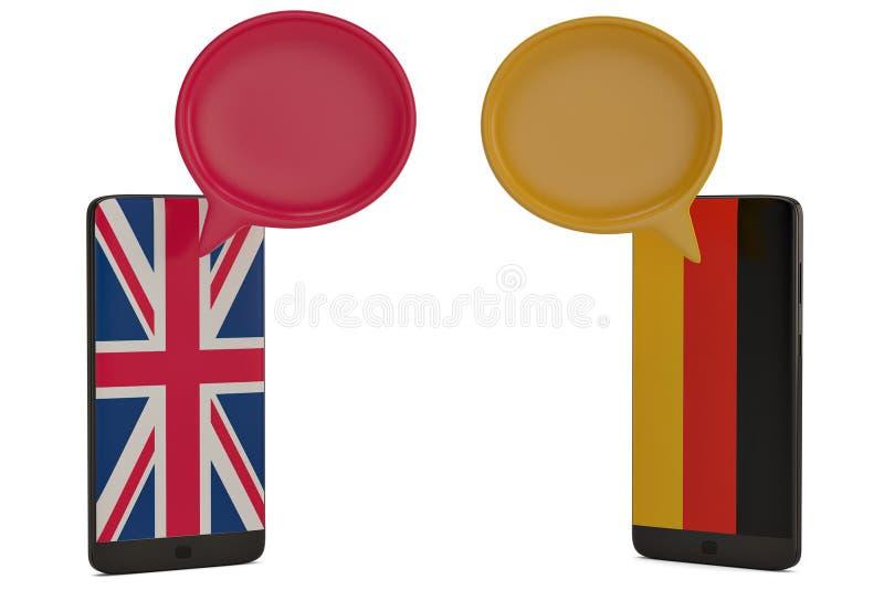 Dialoogdozen en slimme telefoon op witte 3D illustratie als achtergrond stock illustratie