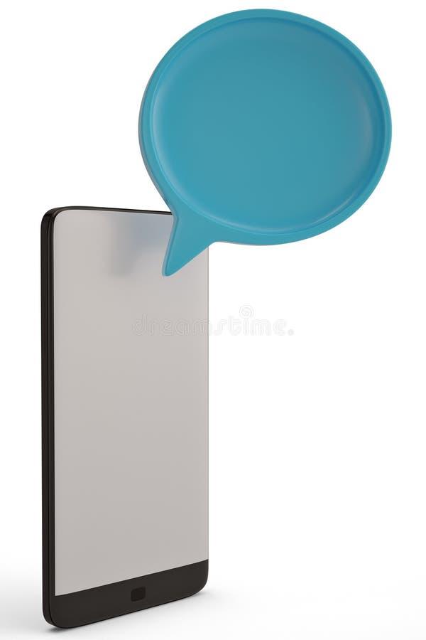 Dialoogdozen en slimme telefoon op witte 3D illustratie als achtergrond vector illustratie