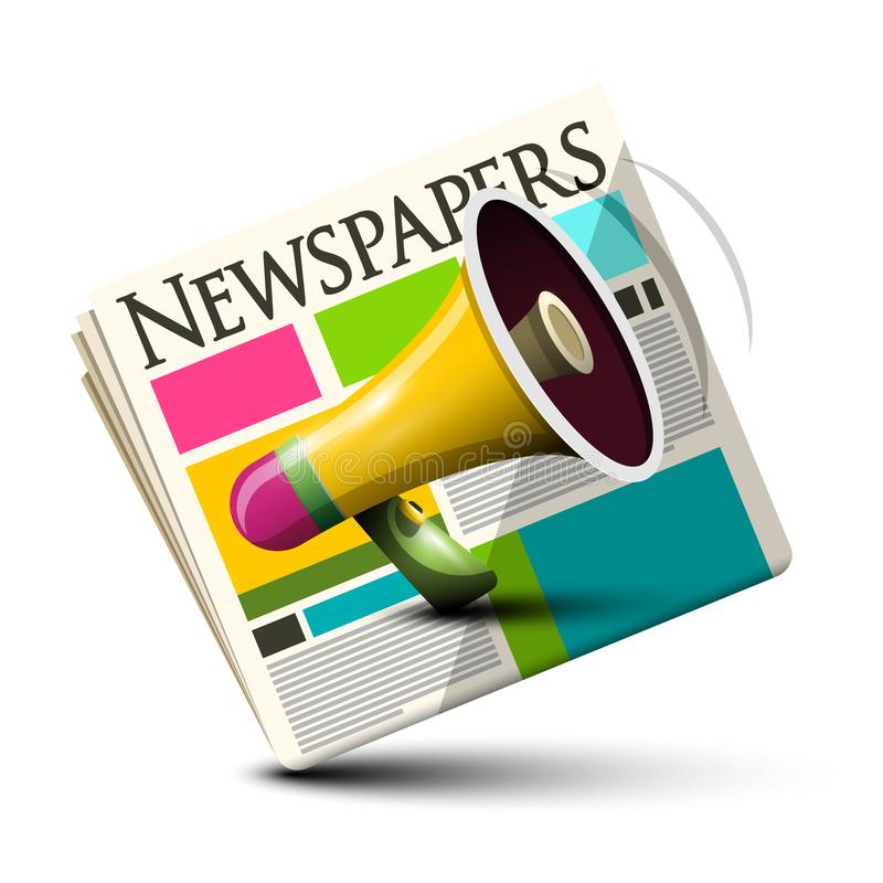 Dialy Paper Newspapers Icon with Megaphone. Isolated royalty free illustration