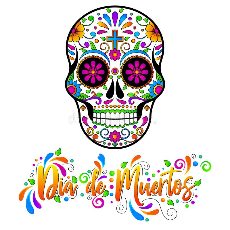 Diamètre de muertos, crânes mexicains de sucre, jour de l'illustration morte de vecteur de Halloween illustration stock