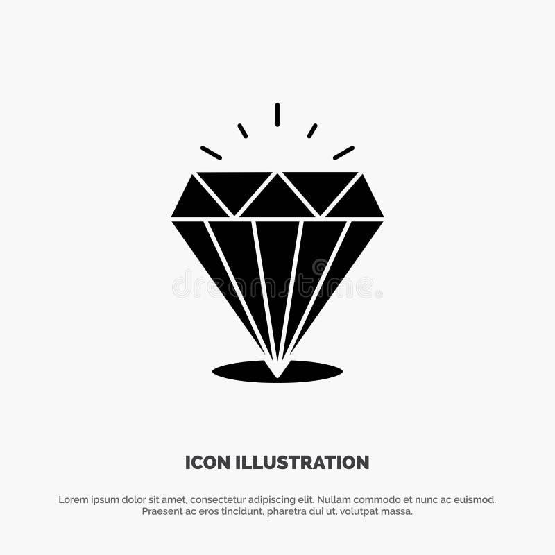 Diamant, éclat, cher, vecteur solide d'icône de Glyph de pierre illustration de vecteur