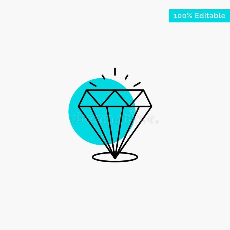 Diamant, éclat, icône chère et en pierre de vecteur de point de cercle de point culminant de turquoise illustration libre de droits