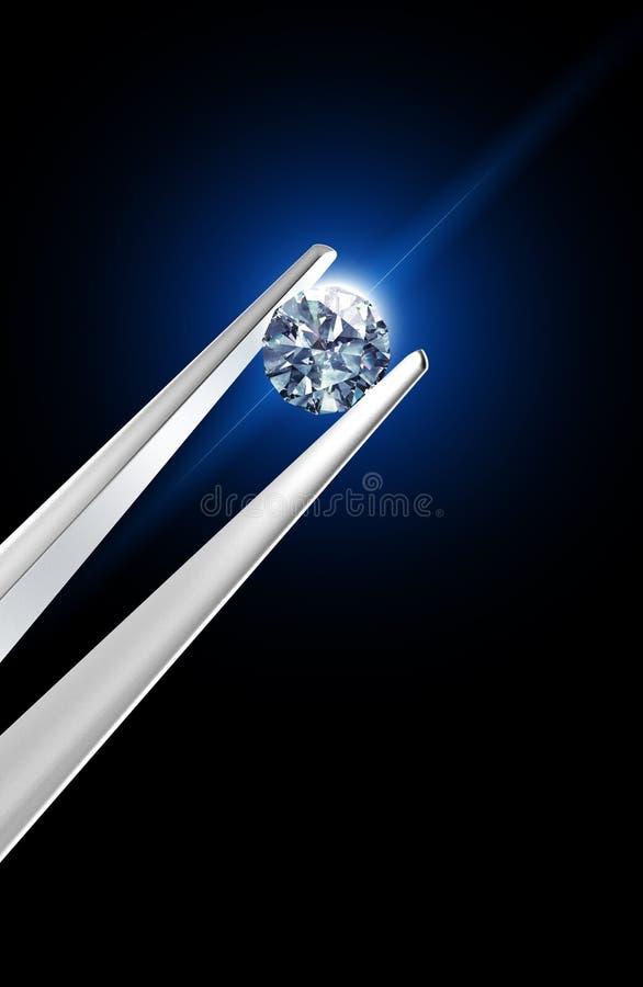 Diamant angehalten durch Pinzette lizenzfreie abbildung