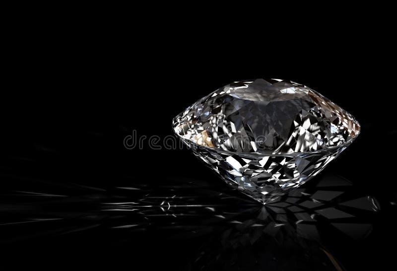 Diamant auf schwarzem Hintergrund lizenzfreie abbildung