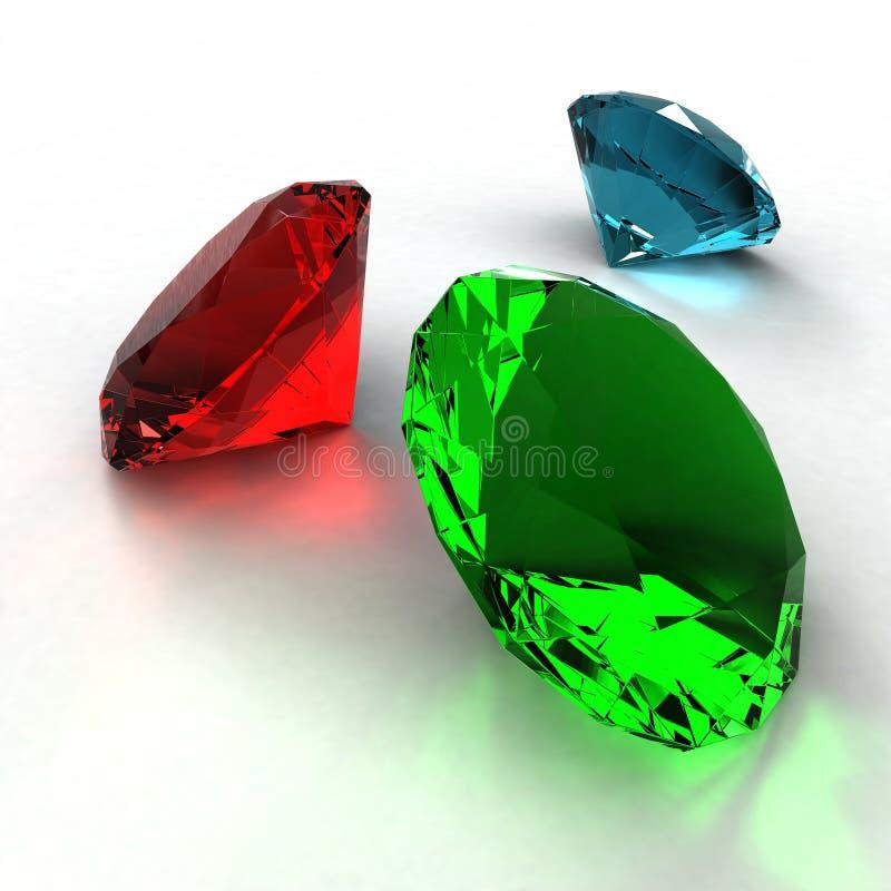 Diamant av tre färger på en vit bakgrund royaltyfri illustrationer