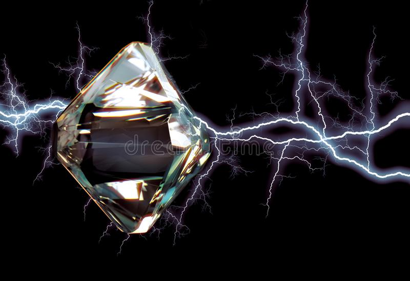 Diamant in Bliksem stock foto's