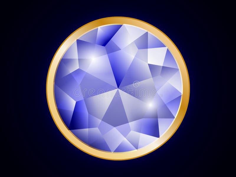 Diamant bordé or sur un fond foncé illustration libre de droits