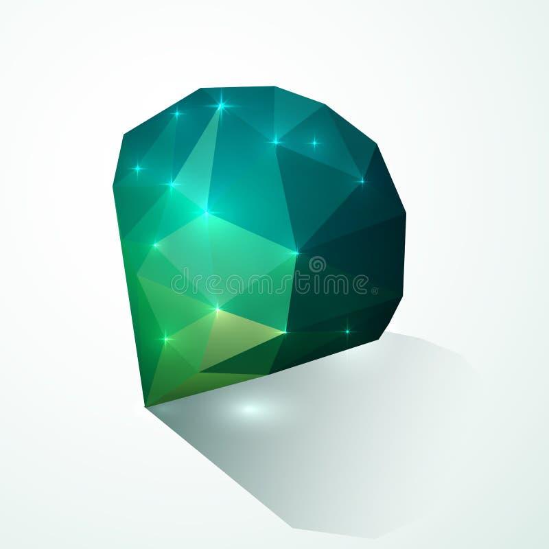 Diamant brillant vert de vecteur illustration libre de droits