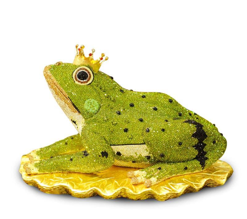 Diamant conçu élégant dans la grenouille sur le fond blanc, la grenouille p photographie stock libre de droits