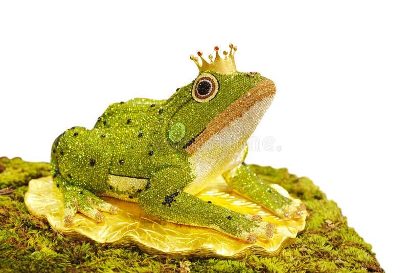 Diamant conçu élégant dans la grenouille sur le fond blanc, la grenouille p photos stock