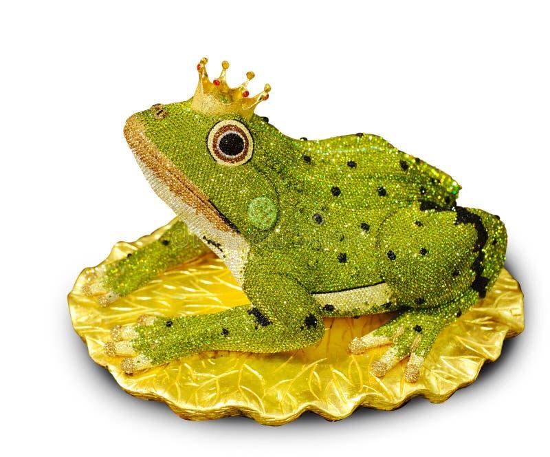 Diamant conçu élégant dans la grenouille sur le fond blanc, la grenouille p images stock