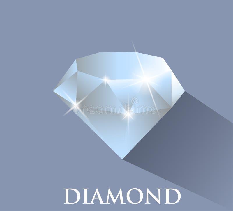 Diamant Conception de vecteur avec la longue ombre illustration de vecteur