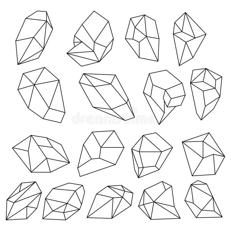 Diamant 3d vormen Natuurlijk kristallenoverzicht De vectorreeks van gemstenen vector illustratie