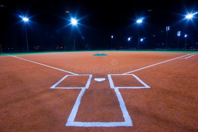 Diamant de base-ball la nuit photo stock