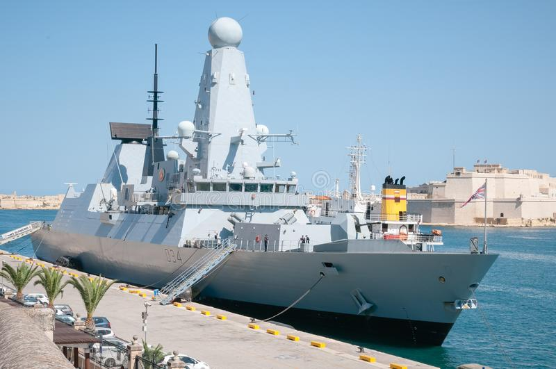 Diamant de HMS, destroyer royal de marine Valletta, Malte images libres de droits