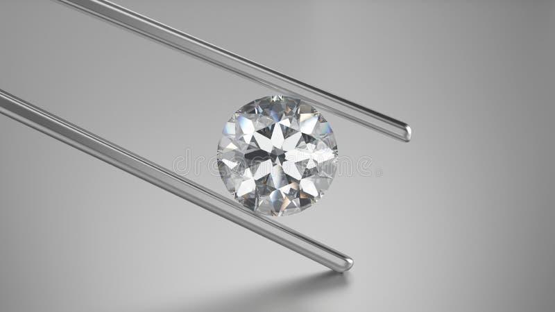 diamant de plan rapproché de l'illustration 3D dans des brucelles illustration libre de droits