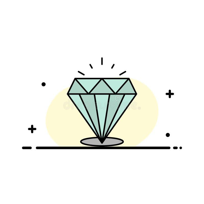 Diamant, der Glanz, teuer, Stein-Geschäfts-flache Linie füllte Ikonen-Vektor-Fahnen-Schablone vektor abbildung