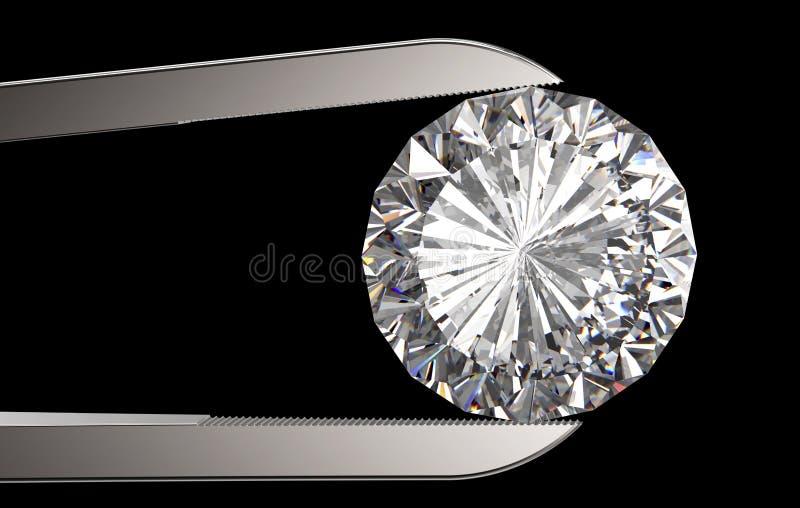 Diamant in der Pinzette lokalisiert auf Schwarzem lizenzfreies stockbild