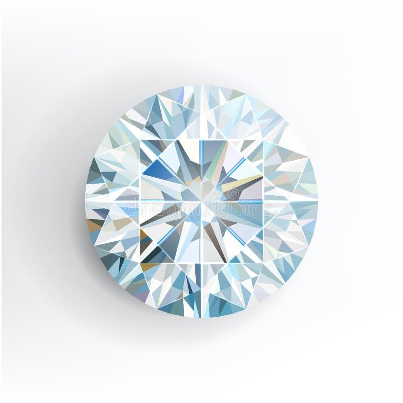 Diamant die op witte achtergrond wordt geïsoleerde Vector stock illustratie