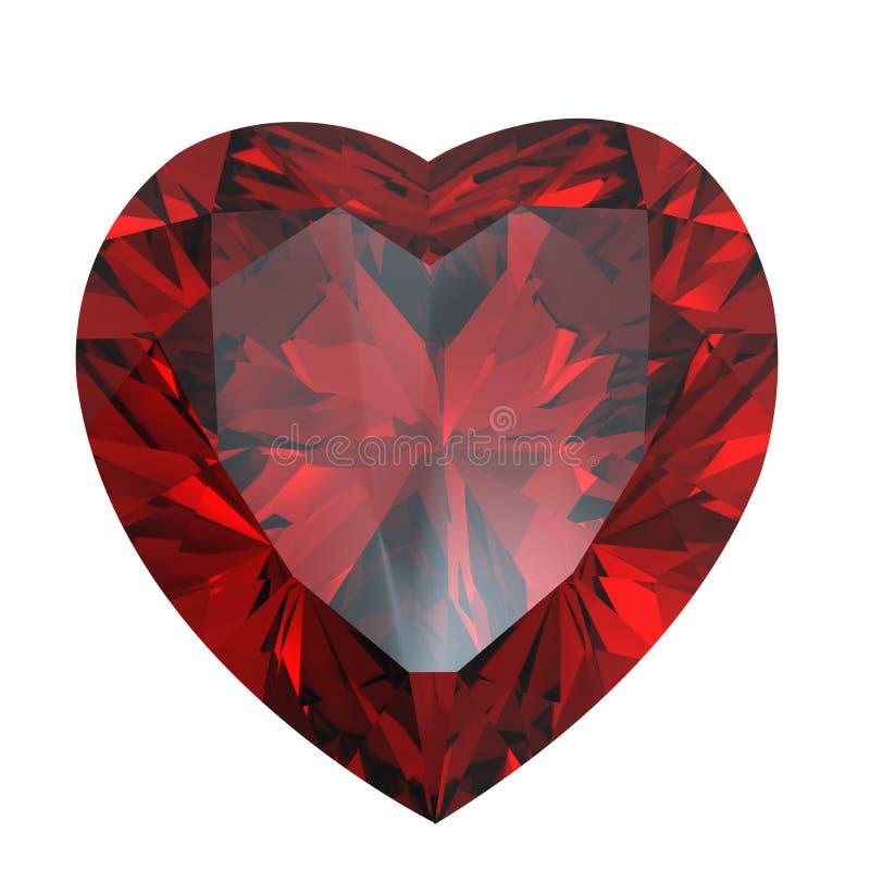Diamant en forme de coeur d'isolement. Grenat illustration libre de droits