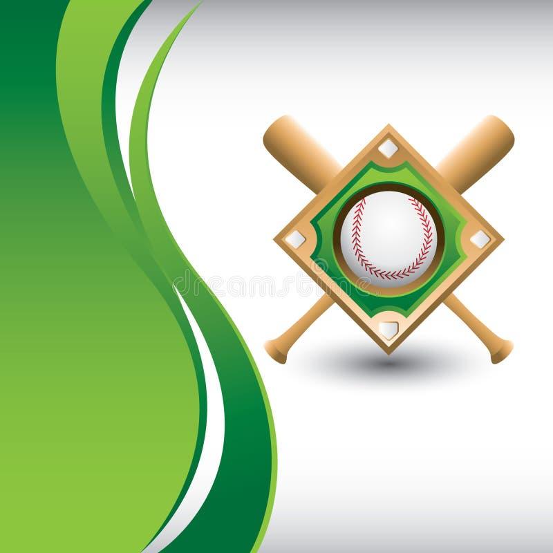 Diamant et 'bat' de base-ball sur l'onde verte verticale illustration de vecteur