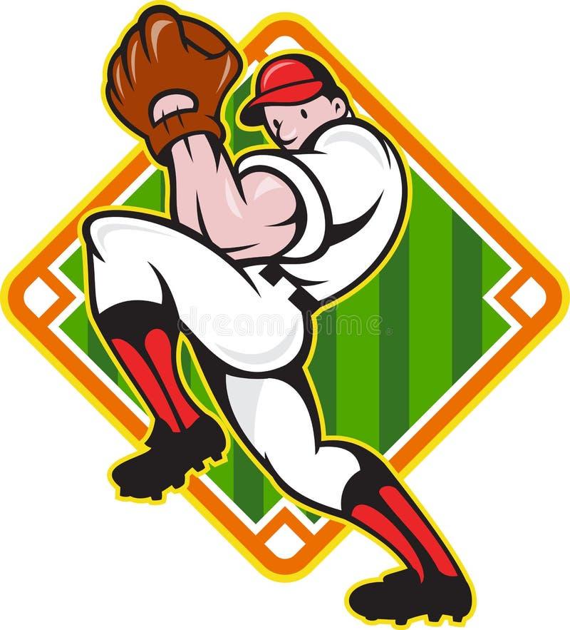 Diamant för breddsteg för baseballkannaspelare stock illustrationer