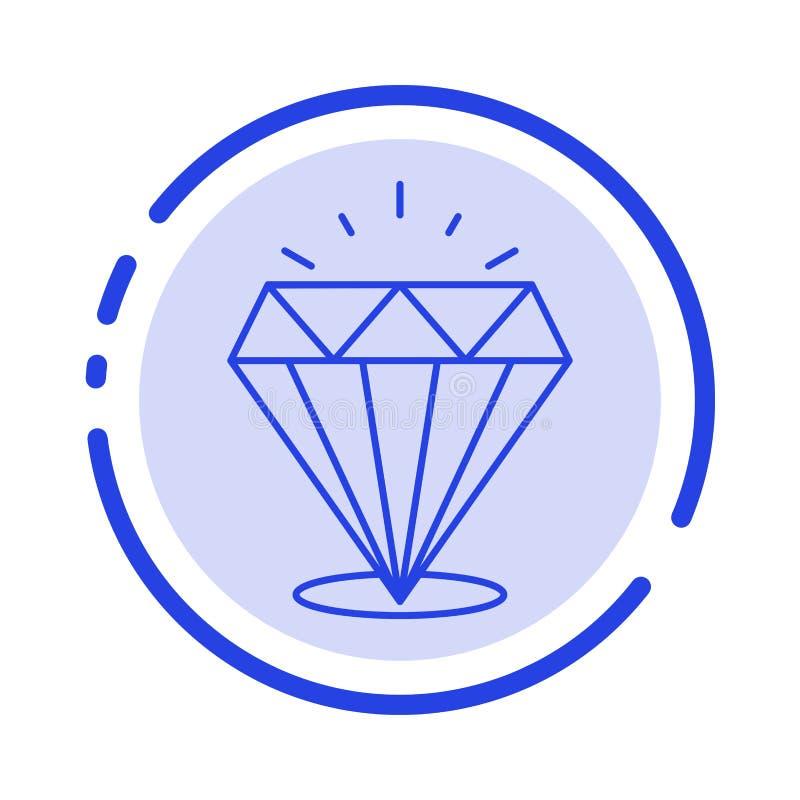 Diamant, Glanz, teuer, Linie Ikone der Stein-blauen punktierten Linie lizenzfreie abbildung