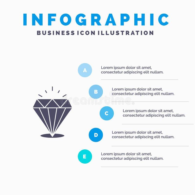 Diamant, Glanz, teuer, Schritt-Darstellungs-Hintergrund Stein-fester Ikone Infographics 5 vektor abbildung