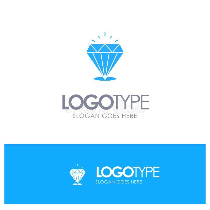 Diamant, Glanz, teuer, Stein-blaues festes Logo mit Platz für Tagline lizenzfreie abbildung