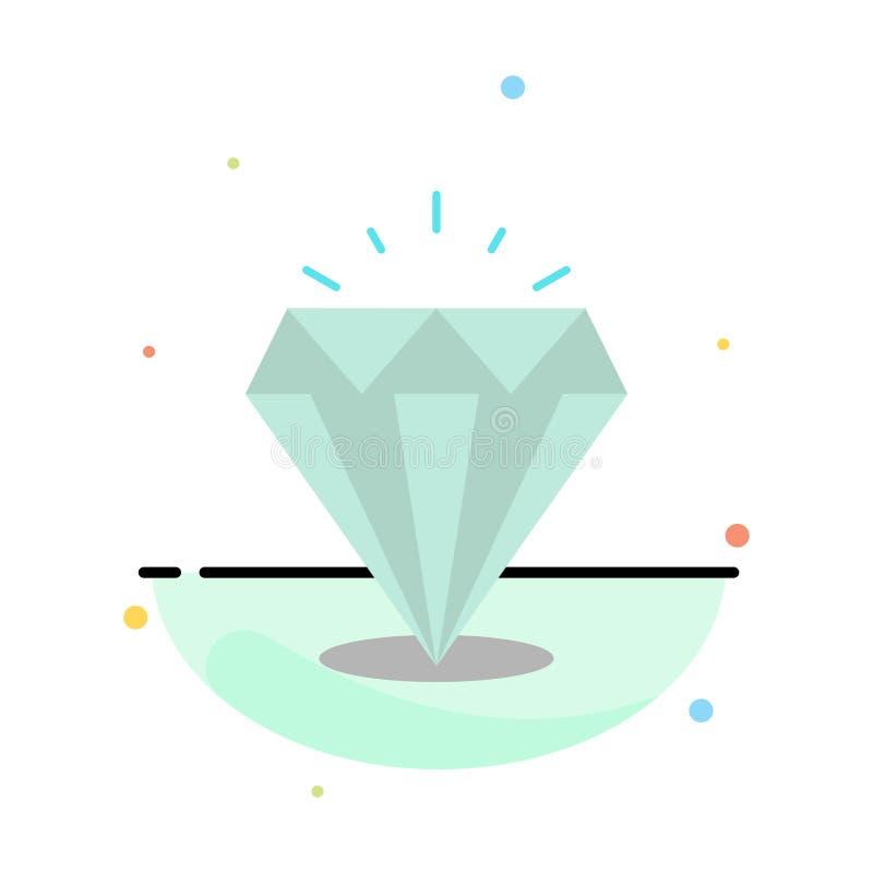 Diamant, Glanz, teuer, Stein-Zusammenfassungs-flache Farbikonen-Schablone vektor abbildung
