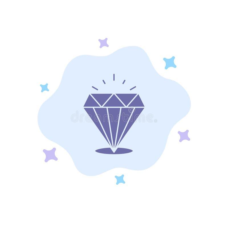 Diamant, Glanz, teure, blaue Steinikone auf abstraktem Wolken-Hintergrund stock abbildung