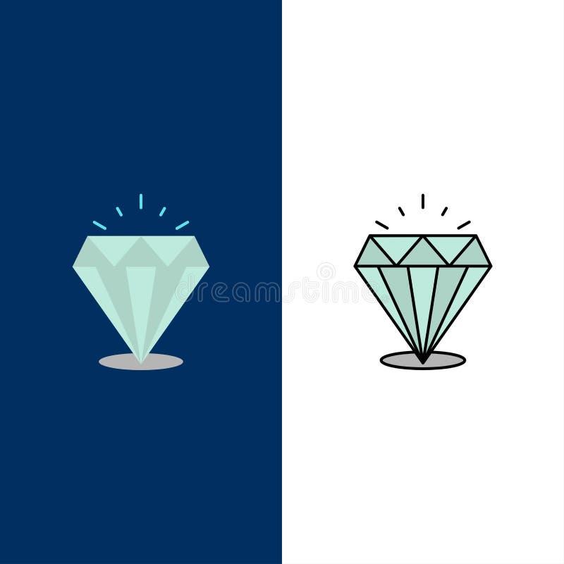 Diamant, Glanz, teure, Steinikonen Ebene und Linie gefüllte Ikone stellten Vektor-blauen Hintergrund ein lizenzfreie abbildung