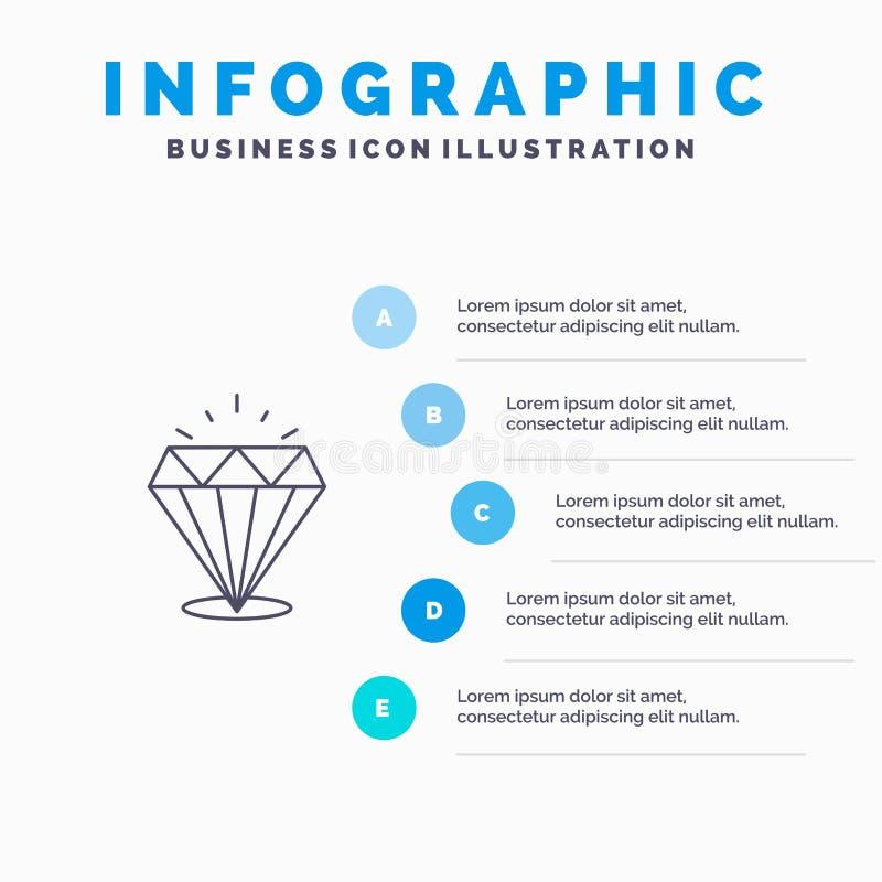 Diamant, Glanz, teure, Steinlinie Ikone mit Hintergrund infographics Darstellung mit 5 Schritten stock abbildung