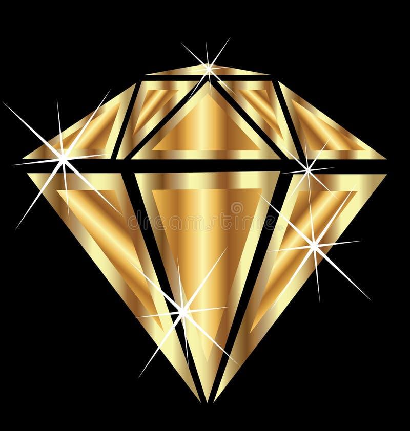 Diamant in goud vector illustratie