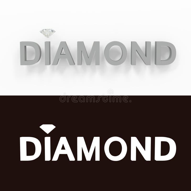 Diamant - grauer Text auf einem weißen Hintergrund - 3D übertrug freies Bild der Abgabe auf Lager lizenzfreie abbildung
