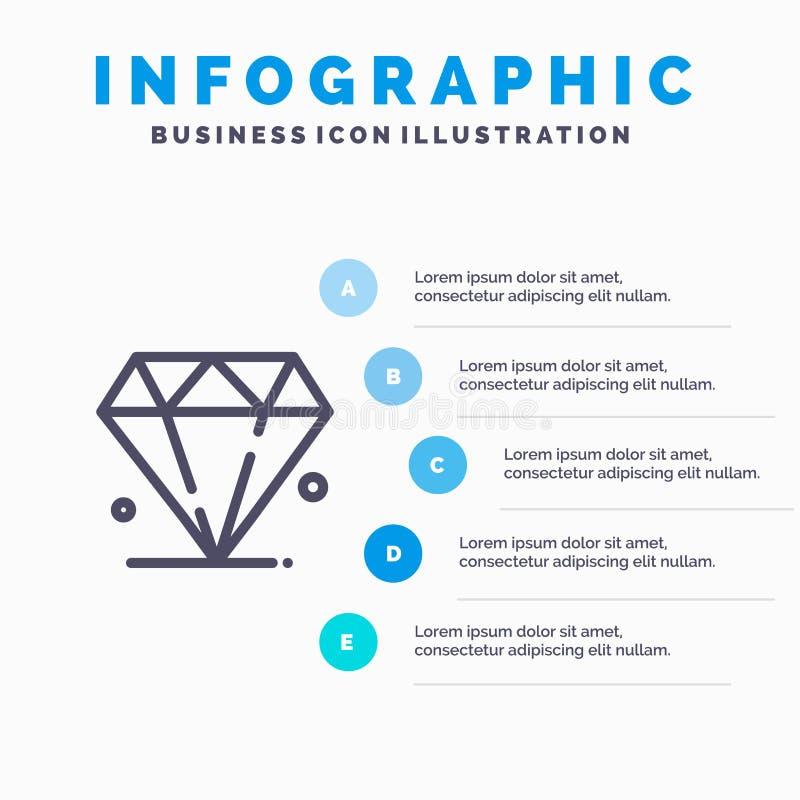 Diamant, Juwel, Madrigal-Linie Ikone mit Hintergrund infographics Darstellung mit 5 Schritten vektor abbildung