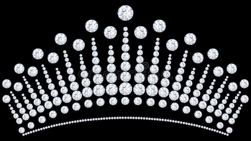 Diamant-Kronentiara der Illustration 3D mit funkelndem kostbarem sto lizenzfreie stockfotos