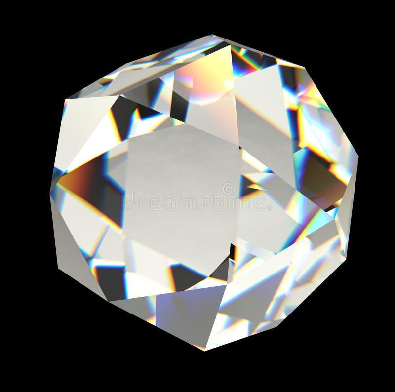 Diamant lokalisiert auf schwarzer Wiedergabe des Hintergrundes 3D lizenzfreies stockfoto