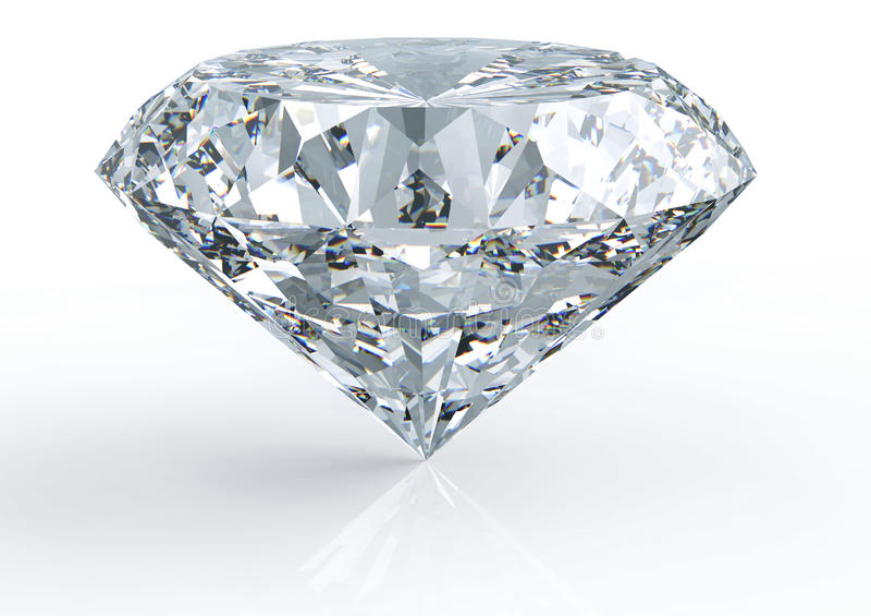 Diamant lokalisiert auf Weiß stockfotografie