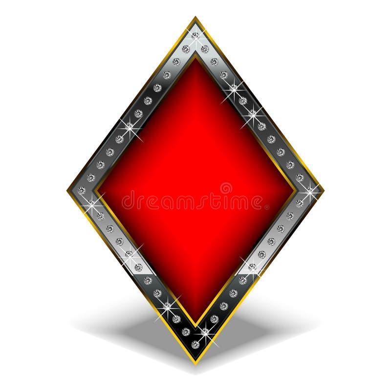Diamant met diamanten royalty-vrije illustratie
