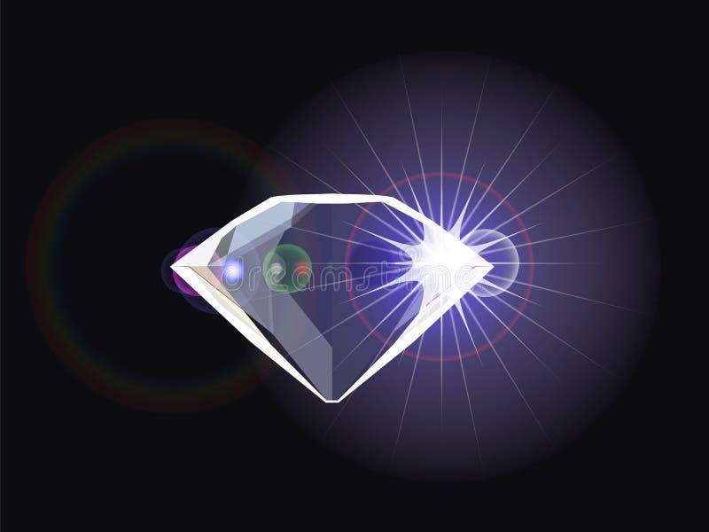 Diamant met lichte bezinning vector illustratie