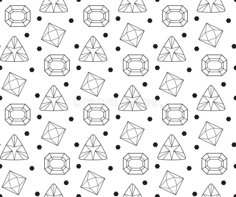 Diamant naadloos patroon, lijn, schets, krabbelstijl Moderne in eindeloze achtergrond met juwelen Herhaalde gemmen stock illustratie