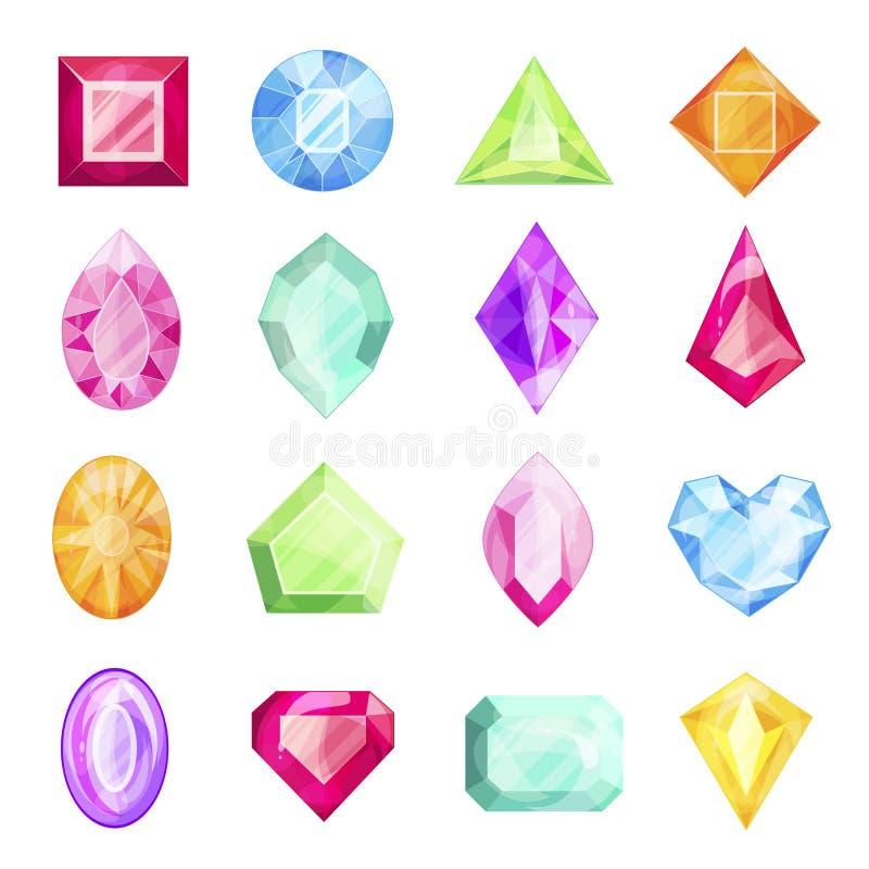 Diamant- och gemstoneuppsättning, dyrbar design för gåva stock illustrationer